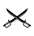 crossed swords isolated on white background vector image vector image