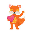cute orange fox character standing and holding vector image vector image