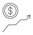 dollar growth thin line icon financial and graph vector image vector image