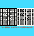 domino white and black color set full classic vector image
