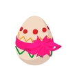 Easter egg with a pink bow cartoon icon vector image