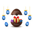 easter eggs sale broken happy easter chocolate vector image