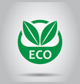 eco label badge icon in flat style organic vector image vector image