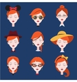 Fashion Girls in Head Accessories Set vector image