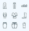 fashion icons line style set with jeans one piece vector image