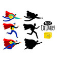 fast delivery superhero boy vector image