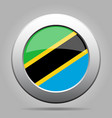flag of tanzania shiny metal gray round button vector image vector image