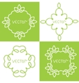 Floral outline frames and borders mono vector image vector image