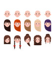 girl head with hairstyles and emotional faces set vector image vector image