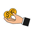 hand holding coins dollar and euro vector image