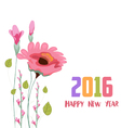 Happy new year 2016 Painted watercolor card with vector image vector image