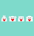 Happy valentines day white cat kitten rabbit hare