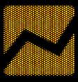 hexagon halftone analytics chart icon vector image vector image