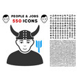 horned warrior icon with bonus vector image