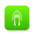 indian headdress icon digital green vector image vector image