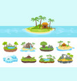 islands set isometric tropical arctic island vector image