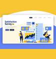 landing page flat design satisfaction surveys vector image vector image