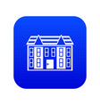 large two-storey house icon digital blue vector image vector image