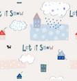 let it snow flakes fall winter season pattern vector image vector image
