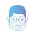 line man head with hairstyle and glasses vector image