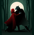 little red riding hood and the wolf dancing in vector image