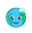 lovely world globe isolated emoticon vector image vector image