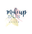 make up salon original logo design label for vector image vector image
