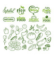 natural food and ingredients logo and veggies vector image