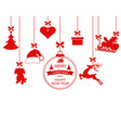 new year christmas various hanging ornaments vector image
