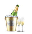 opened champagne bottle in bucket with ice vector image vector image
