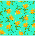 orange lily on green mint background vector image vector image