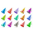 paper birthday party hats isolated funny caps for vector image vector image