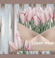 pink tulips card wedding save the date vector image vector image