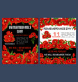remembrance day poster with red poppy flower frame vector image vector image