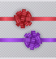 set of gift ribbons with realistic bow of red and vector image vector image
