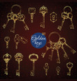 set of hand-drawn antique keys vector image