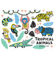 set of tropical animals with crocodile tiger vector image vector image