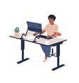 smiling black skin female employee sitting at vector image vector image
