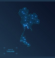 thailand map with cities luminous dots - neon vector image vector image