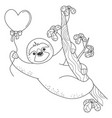 valentine sloth hanging on a branch with a heart vector image vector image