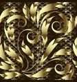 vintage gold floral 3d seamless pattern vector image vector image