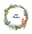 watercolor christmas frame with bird vector image vector image