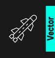 white line rocket icon isolated on black vector image vector image