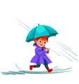 woman walking rain with umbrella hands raindrops vector image