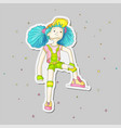 young girl with blue hair in baseball cap and vector image vector image