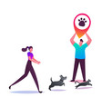 young woman trying to catch dog and cat running vector image vector image