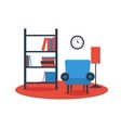 bookshelf armchair interior design vector image