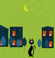 Cat in the city vector image