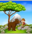 adventurer and bear posing with mountain scene vector image vector image