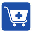 blue white sign - shopping cart plus add icon vector image vector image